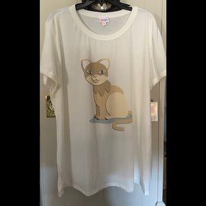 NWT Liv Tee 3xl Cat Print on White